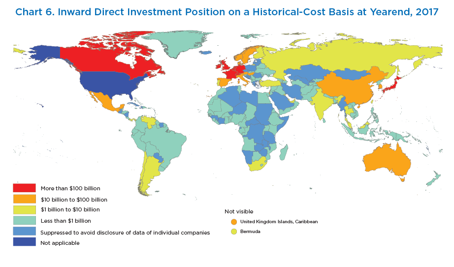Chart 6. Inward Direct Investment Position on a Historical-Cost Basis at Yearend, 2017. Map.
