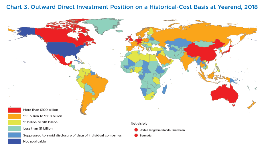 Chart 3. Outward Direct Investment Position on a Historical-Cost Basis at Yearend, 2018. Map.