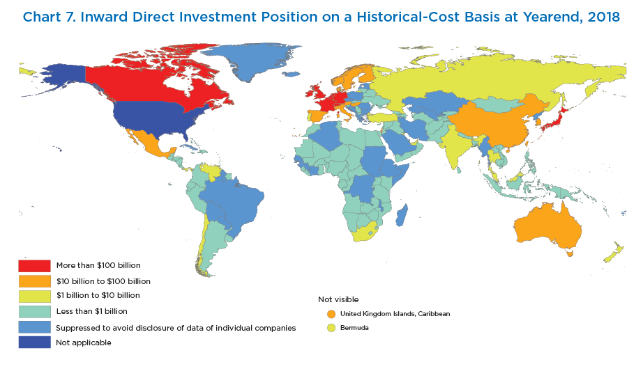 Chart 6. Inward Direct Investment Position on a Historical-Cost Basis at Yearend, 2018. Map.