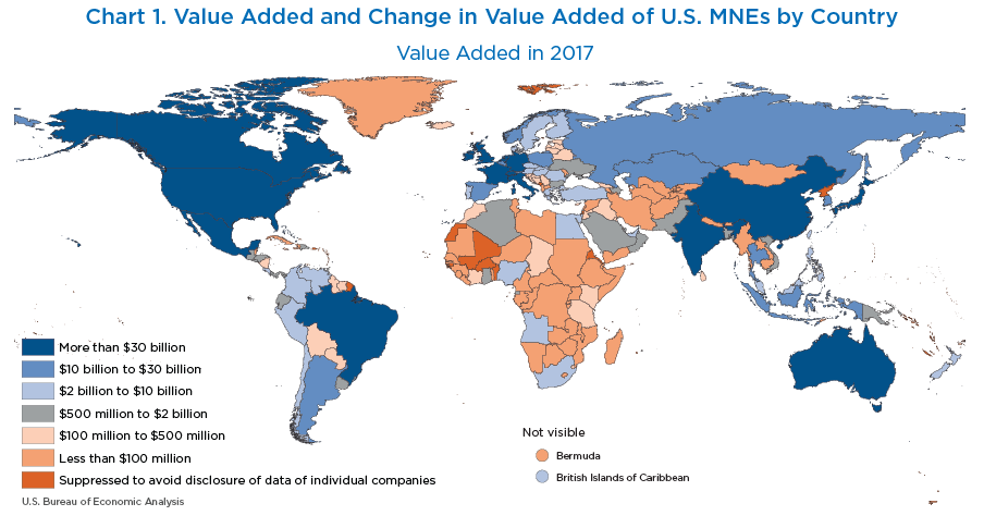 Chart 1. World Map of Value Added and Change in Value Added of U.S. MNEs by Country, Value added in 2017