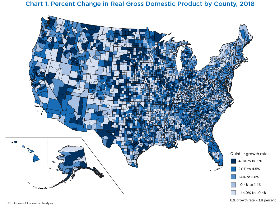 Chart 1. Percent Change in Real GDP by County, 2018