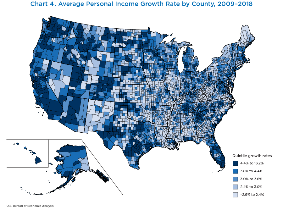 Chart 4. Average Personal Income Growth Rate by County, 2009–2018