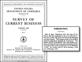 Cover and Note inset of March 1922 issue of the Survey of Current Business